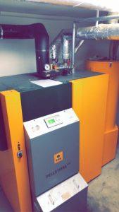 KWB-Anlage des Typs Multifire mit 55 KW als Sauganlage zum Beheizen und erzeugen von Warmwasser in einem 9-Familienhaus in Uelzen.